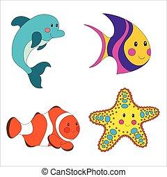 ensemble, dessin animé, créatures mer