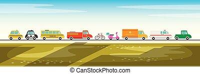 ensemble, dessin animé, divers, véhicules