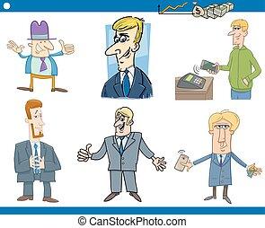 ensemble, dessin animé, hommes affaires