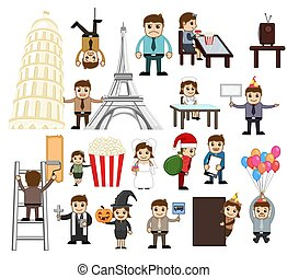 ensemble, dessin animé, illustration, concepts