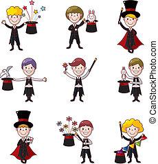 ensemble, dessin animé, magicien