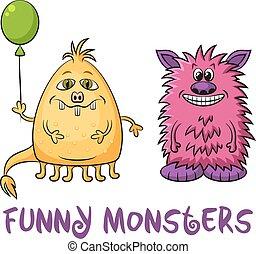 ensemble, dessin animé, monstres