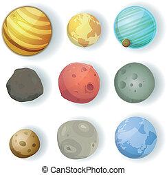 ensemble, dessin animé, planètes
