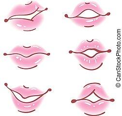 ensemble, dessin animé, réaliste, lèvres, vecteur, bouche, style.