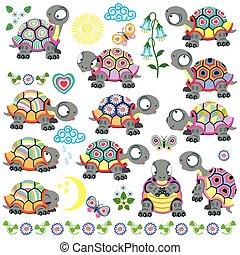 ensemble, dessin animé, tortue