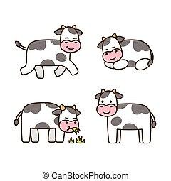 ensemble, dessin animé, vache