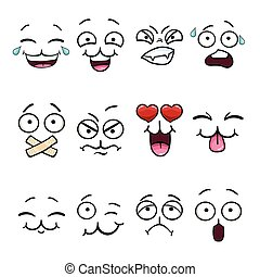 ensemble, dessin animé, visage smiley