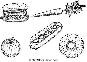 ensemble, dessin, desserts, fruit, légume, dessin animé