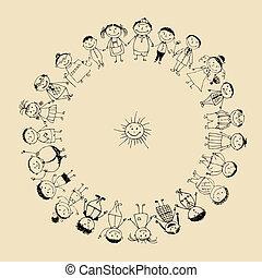 ensemble, dessin, famille heureuse, sourire, croquis, grand