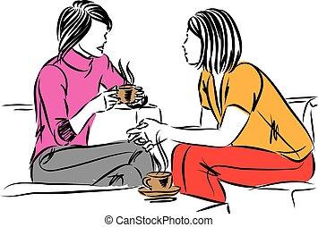 ensemble, deux, conversation, illustration, tasse, femmes, vecteur, café