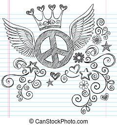 ensemble, diadème, paix, ailes, signe