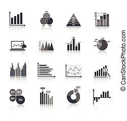 ensemble, diagramme, icones affaires
