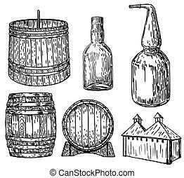 ensemble, distillerie, illustration, main, vecteur, encre, dessiné