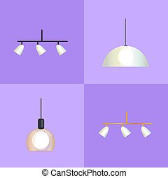 ensemble, distinct, illustration, formes, vecteur, lampes