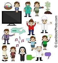 ensemble, divers, dessin animé, caractères, concepts