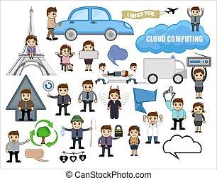 ensemble, divers, dessin animé, concepts affaires