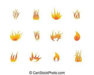 ensemble, divers, flammes, icône
