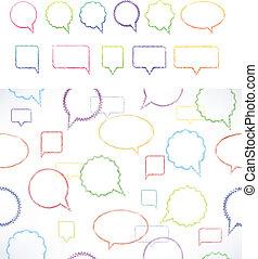 ensemble, divers, parole, bulles