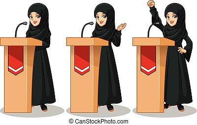 ensemble, donner, femme affaires, arabe, derrière, noir, parole, robe, rostrum
