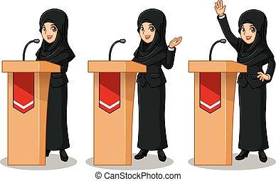 ensemble, donner, femme affaires, derrière, costume noir, parole, voile, rostrum