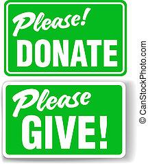 ensemble, donner, s'il vous plaît, signe, vert, donner