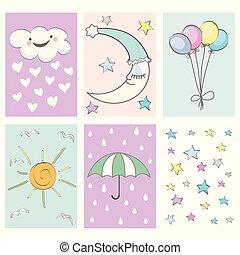 ensemble, -, douche, anniversaire, carte, bébé, conception, fête