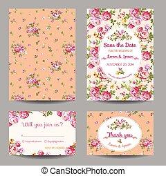 ensemble, -, douche, vecteur, mariage, bébé, invitation/congratulation, carte