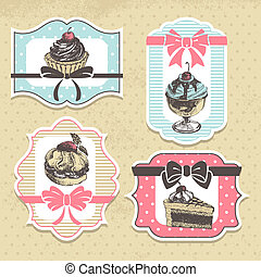 ensemble, doux, labels., boulangerie, petits gâteaux, vendange, cadres