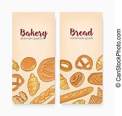 ensemble, doux, savoureux, patisserie, délicieux, pains,...