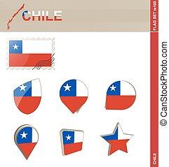 ensemble, drapeau, ensemble, chili