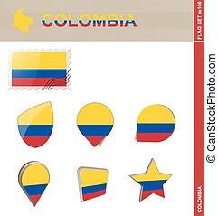 ensemble, drapeau, ensemble, colombie