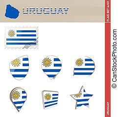ensemble, drapeau, ensemble, uruguay