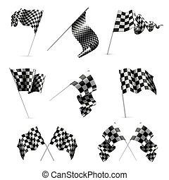ensemble, drapeaux, checkered