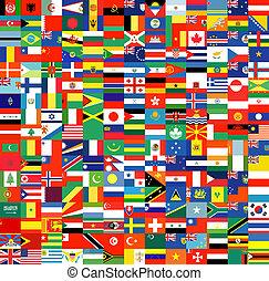 ensemble, drapeaux, complet