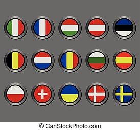 ensemble, drapeaux, européen