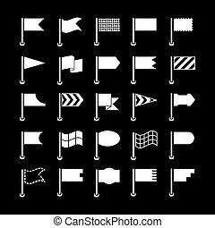 ensemble, drapeaux, icônes