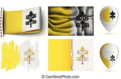 ensemble, drapeaux, isolé, collection, vatican