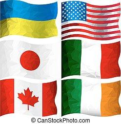 ensemble, drapeaux