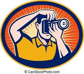 ensemble, dslr, photographe, intérieur, appareil photo, numérique, ovale, sunburst