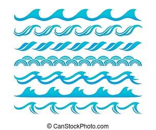 ensemble, eau, vecteur, conception, vagues, éléments