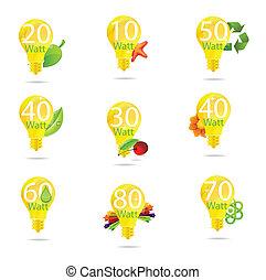 ensemble, eco, isolé, jaune, symboles, couleur, ampoule