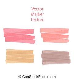 ensemble, effet, taches, main, aquarelle, conception, marqueur, dessiné, texture