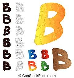ensemble, elements., b, lettre, floral, rempli