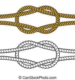 ensemble, elements., coloré, cordes, grayscale, vecteur, noeud