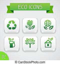 ensemble, elements., icônes, eco, apps, collection, 2.