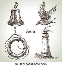 ensemble, elements., main, conception, mer, nautique, ...