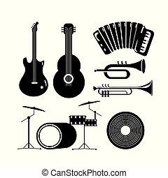 ensemble, eletric, guitare, instruments musique, acoustique
