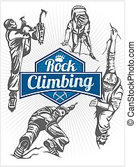 ensemble, emblème, -, climbers., vecteur, climbing., rocher