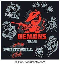 ensemble, emblème, -, paintball, vecteur, logo