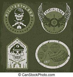 ensemble, emblème, vecteur, conception, unité, gabarit, ...
